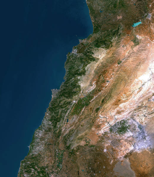 Landsat 7 Wall Art - Photograph - Lebanon by Planetobserver/science Photo Library