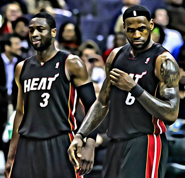 Wall Art - Painting - Lebron James And Dwyane Wade by Florian Rodarte