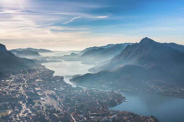 Suburbs Photograph - Lecco Lake Aerial View, Como, Italy by Deimagine