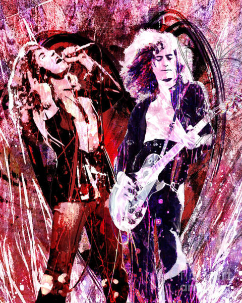 Rock Music Jimmy Page Wall Art - Painting - Led Zeppelin - Jimmy Page And Robert Plant by Ryan Rock Artist