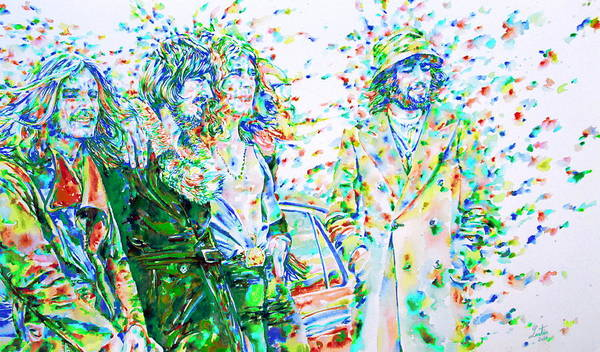 Jimmy Page Painting - Led Zeppelin - Watercolor Portrait.2 by Fabrizio Cassetta