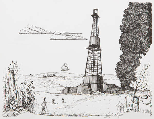 Oil Derrick Drawing - Leduc Oil Well Number One by Cathy Long