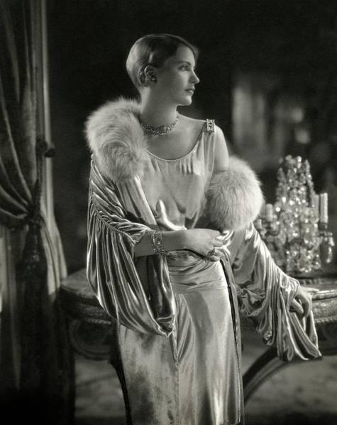 Home Accessories Photograph - Lee Miller Wearing An Evening Gown by Edward Steichen