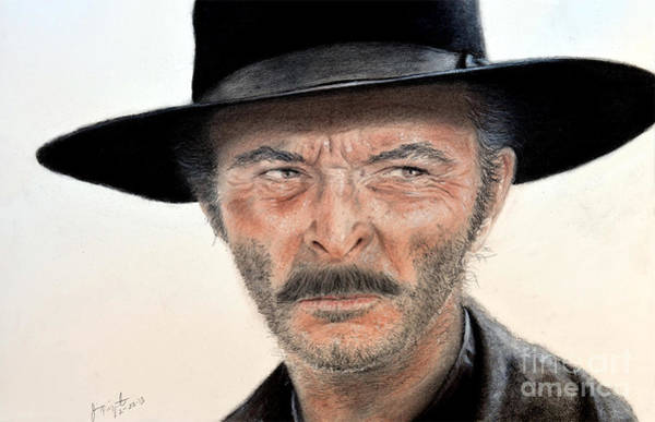 Clint Eastwood Drawing - Lee Van Cleef As Angel Eyes In The Good The Bad And The Ugly by Jim Fitzpatrick