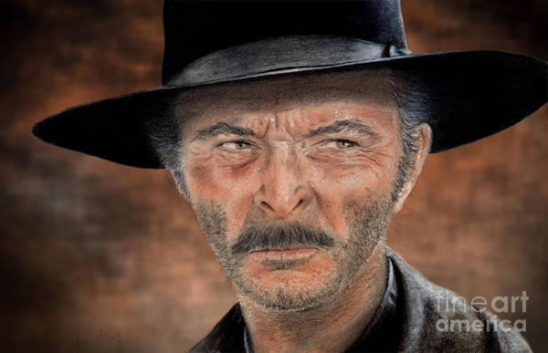 Clint Eastwood Drawing - Lee Van Cleef As Angel Eyes In The Good The Bad And The Ugly Version II by Jim Fitzpatrick