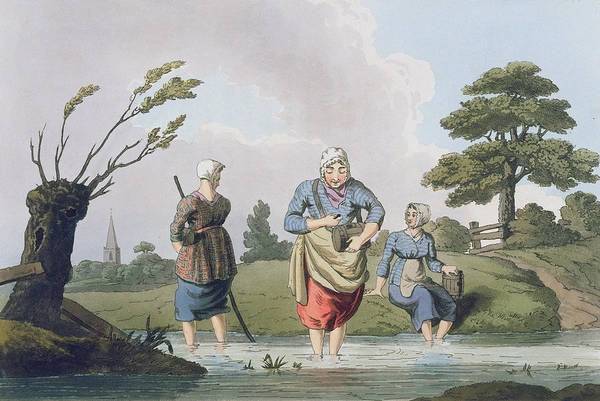 River Drawing - Leech Finders, From `costume by George Walker