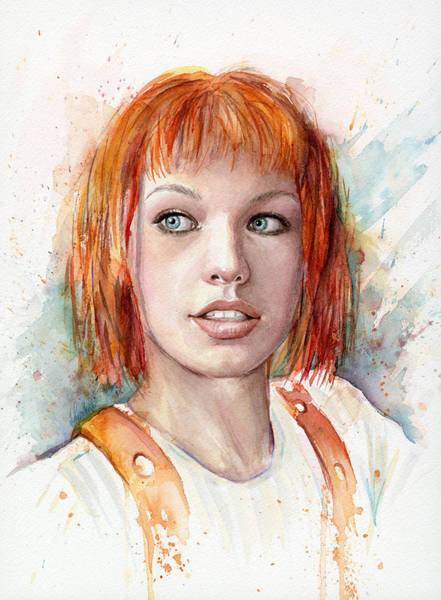 Fan Painting - Leeloo Portrait Multipass The Fifth Element by Olga Shvartsur