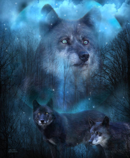 Mixed Media - Legend Of The Blue Wolf by Carol Cavalaris
