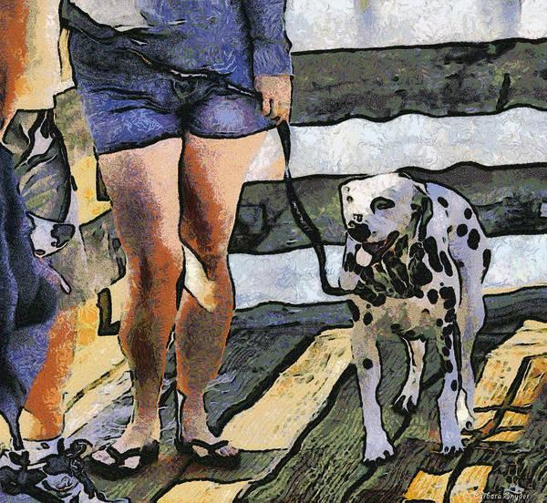 Digital Art - Leggy Girl And Dog Spot by Barbara Snyder