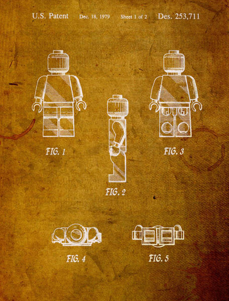 Patent Mixed Media - Lego Minifig Patent On Worn Canvas by Design Turnpike