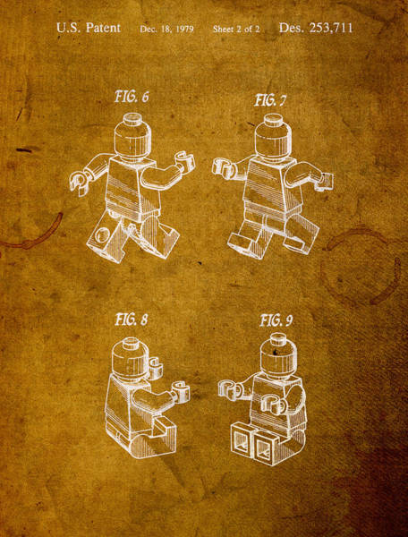 Patent Mixed Media - Lego Minifig Vintage Patent 2 On Worn Canvas by Design Turnpike