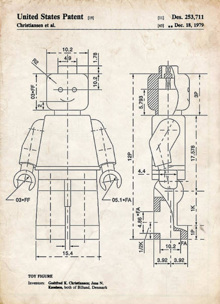 Collectible Art Drawing - Lego Minifigure Patent Art by Stephen Chambers
