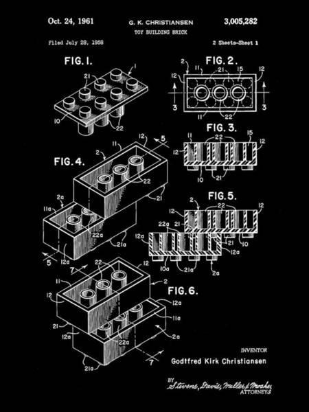 Wall Art - Digital Art - Lego Patent 1958 - Black by Stephen Younts