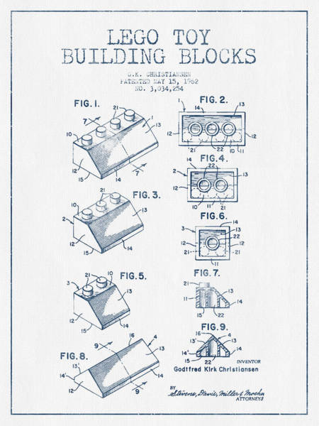 Wall Art - Digital Art - Lego Toy Building Blocks Patent - Blue Ink by Aged Pixel