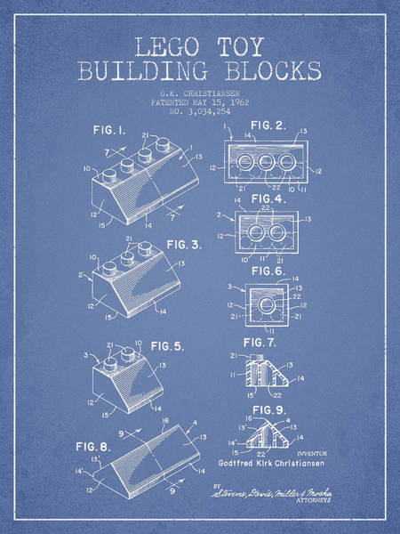 Wall Art - Digital Art - Lego Toy Building Blocks Patent - Light Blue by Aged Pixel