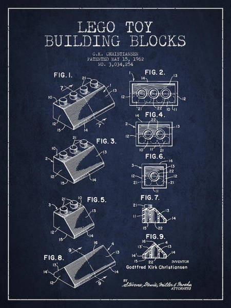 Wall Art - Digital Art - Lego Toy Building Blocks Patent - Navy Blue by Aged Pixel