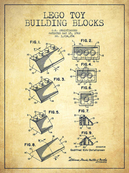 Wall Art - Digital Art - Lego Toy Building Blocks Patent - Vintage by Aged Pixel