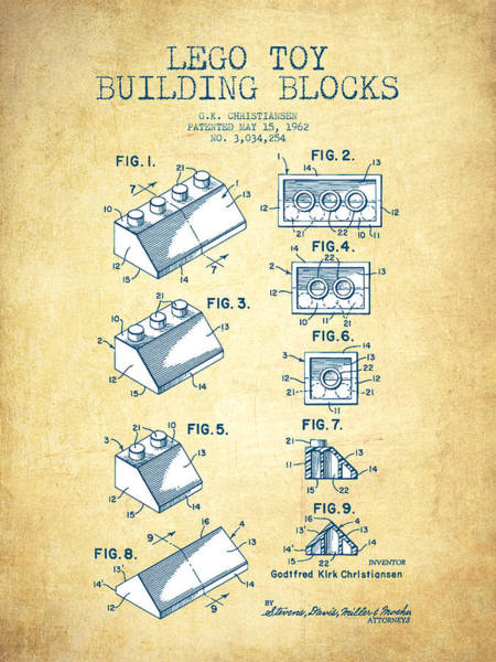 Wall Art - Digital Art - Lego Toy Building Blocks Patent - Vintage Paper by Aged Pixel