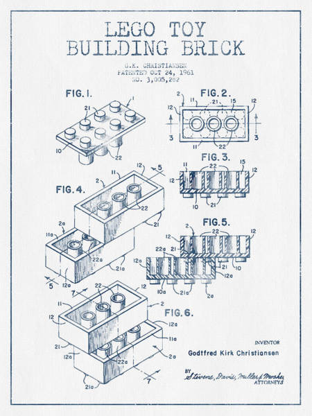 Wall Art - Digital Art - Lego Toy Building Brick Patent - Blue Ink by Aged Pixel