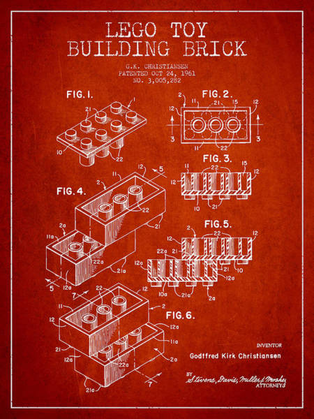 Wall Art - Digital Art - Lego Toy Building Brick Patent - Red by Aged Pixel