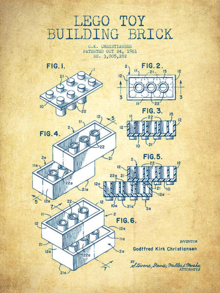 Wall Art - Digital Art - Lego Toy Building Brick Patent - Vintage Paper by Aged Pixel