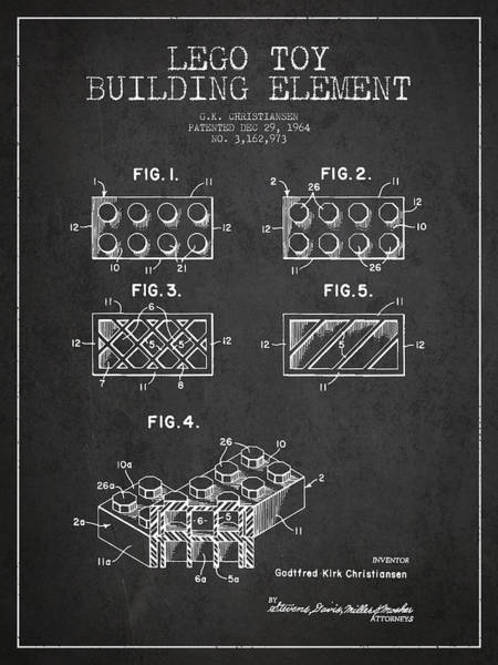 Wall Art - Digital Art - Lego Toy Building Element Patent - Dark by Aged Pixel