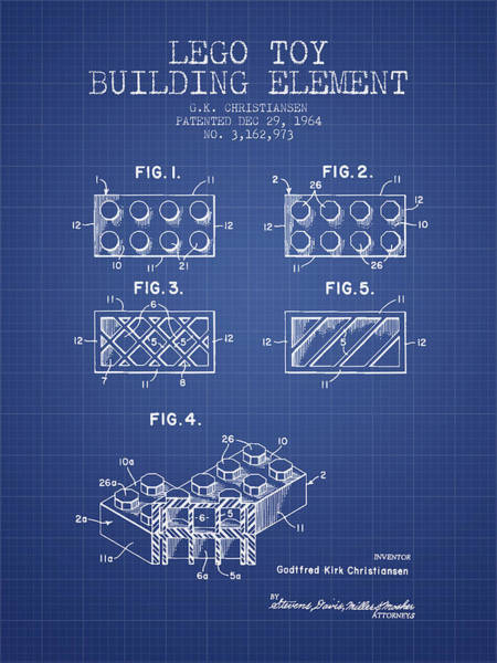 Wall Art - Digital Art - Lego Toy Building Element Patent From 1964 - Blueprint by Aged Pixel