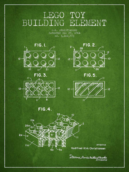 Wall Art - Digital Art - Lego Toy Building Element Patent - Green by Aged Pixel