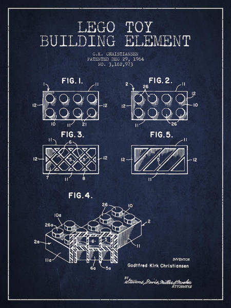 Wall Art - Digital Art - Lego Toy Building Element Patent - Navy Blue by Aged Pixel