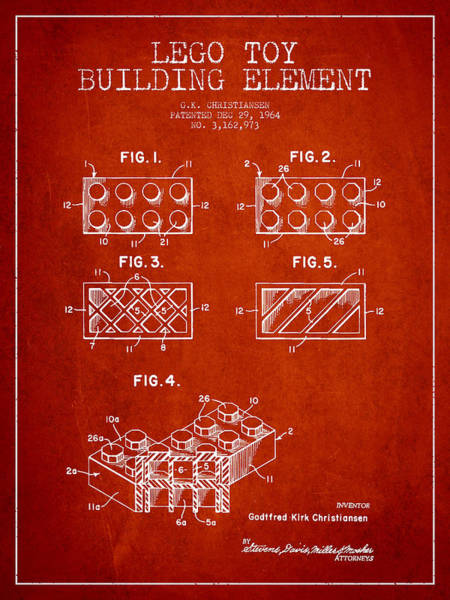 Wall Art - Digital Art - Lego Toy Building Element Patent - Red by Aged Pixel