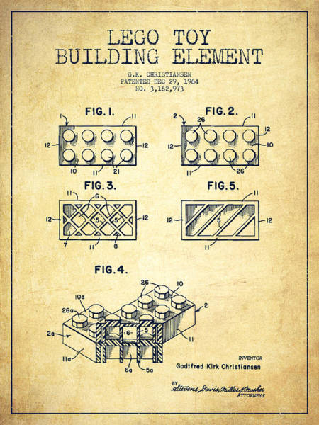 Wall Art - Digital Art - Lego Toy Building Element Patent - Vintage by Aged Pixel