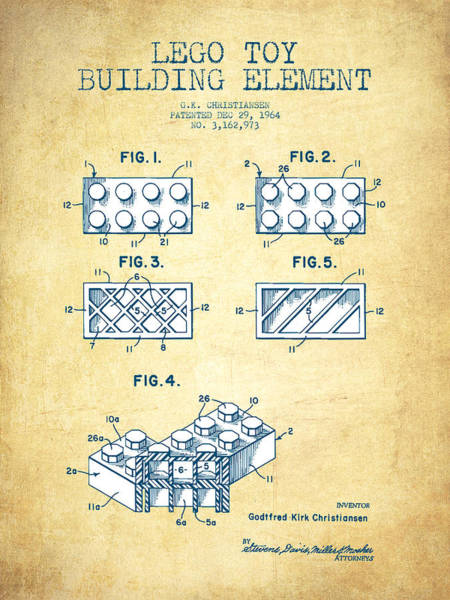 Wall Art - Digital Art - Lego Toy Building Element Patent - Vintage Paper by Aged Pixel