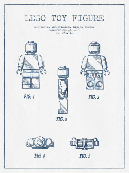 Wall Art - Digital Art - Lego Toy Figure Patent - Blue Ink by Aged Pixel