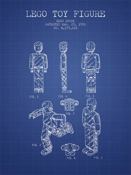 Wall Art - Digital Art - Lego Toy Figure Patent From 1983- Blueprint by Aged Pixel