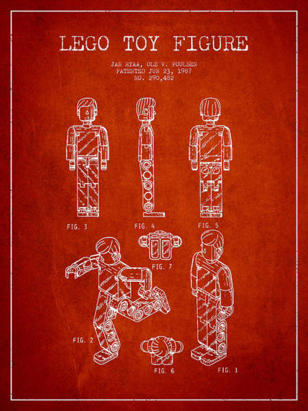 Wall Art - Digital Art - Lego Toy Figure Patent - Red by Aged Pixel