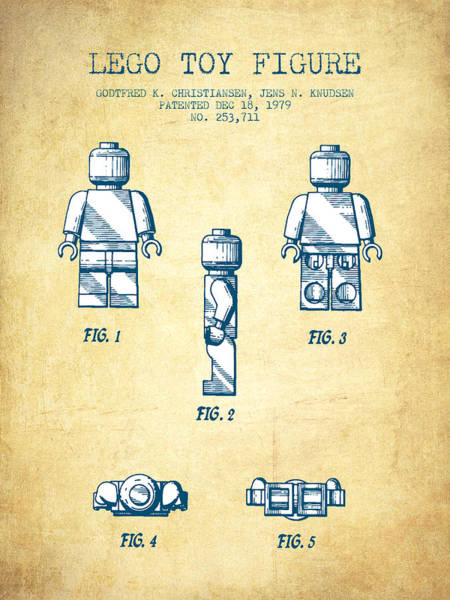 Wall Art - Digital Art - Lego Toy Figure Patent - Vintage Paper by Aged Pixel
