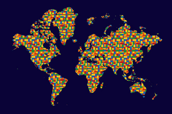 Photograph - Building Blocks World Map by Andrew Fare