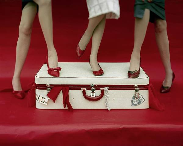 Legs Of Models Standing On A Suitcase Art Print by Sante Forlano