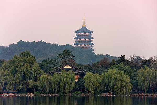Pagoda Photograph - Leifeng Pagoda By West Lake by Keren Su