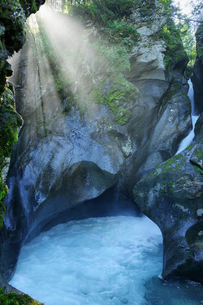 Chalet Photograph - Leitenkammerklamm Canyon, Waterfall In by Andreas Strauss / Look-foto