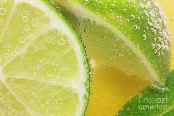 Wall Art - Photograph - Lemon And Lime Slices In Water by Simon Bratt Photography LRPS