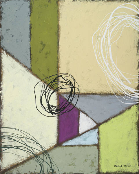 Triangles Painting - Lemon Lime Play II by Michael Marcon