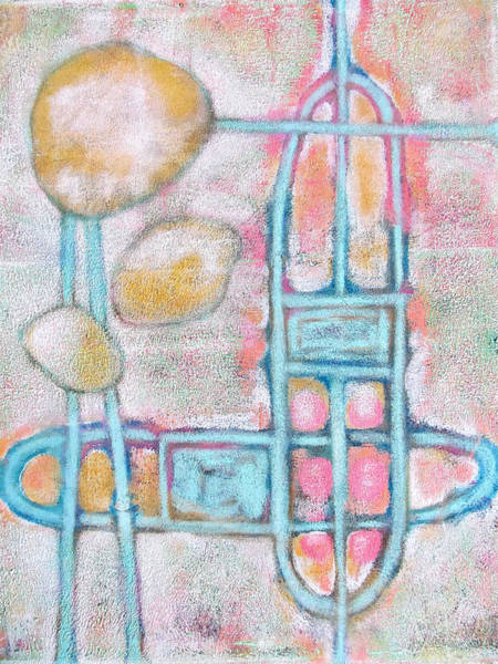 Oxidation Painting - Lemon Rocks Paperclips And Water Trails by Maria Huntley