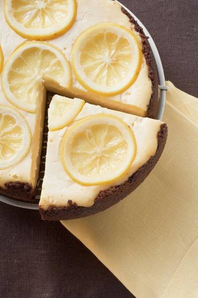Cheese Cake Wall Art - Photograph - Lemon Tart, A Slice Cut (overhead View) by Foodcollection