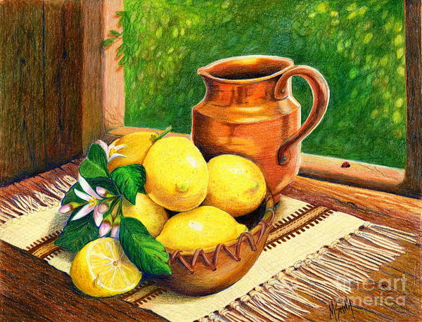 Marilyn Drawing - Lemons And Copper Still Life by Marilyn Smith
