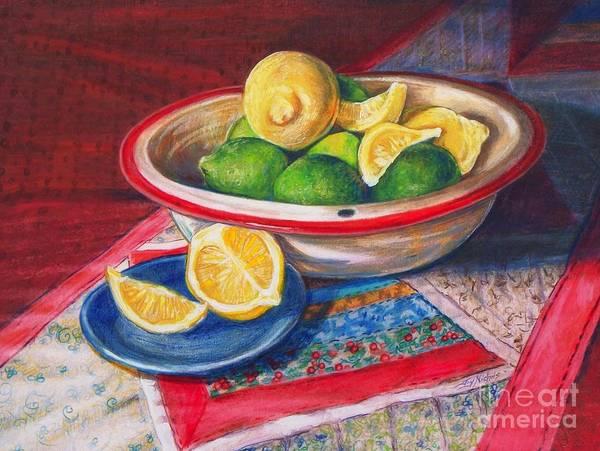 Juicy Drawing - Lemons And Limes by Joy Nichols