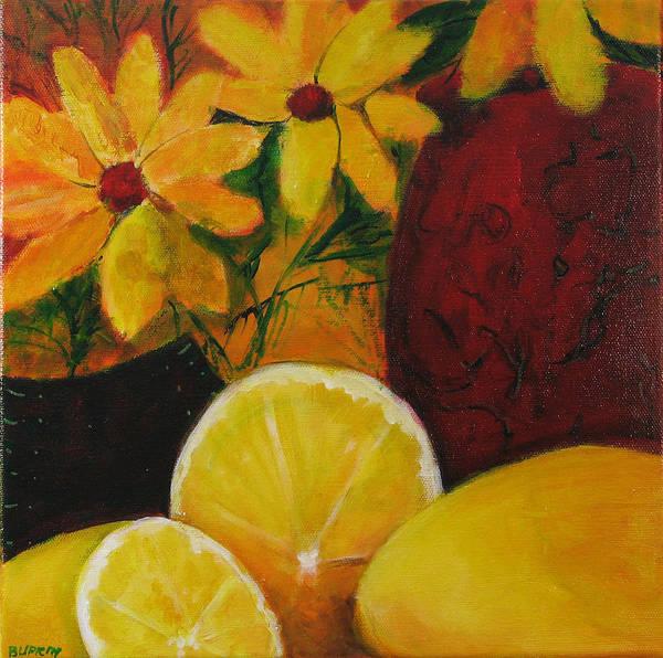 Wall Art - Painting - Lemons by Barbara Lipkin