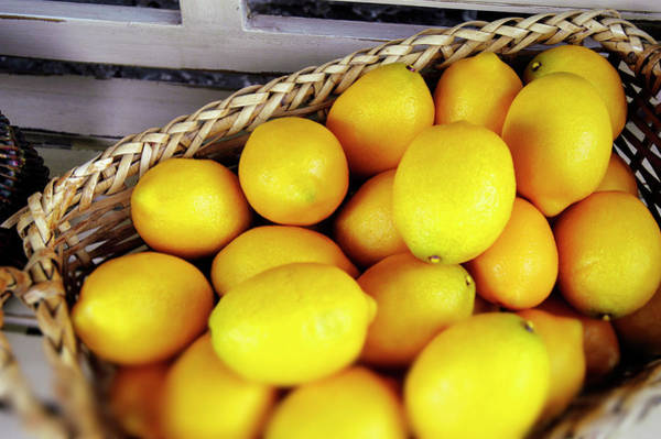 Lifestyles Photograph - Lemons In A Basket by Bauhaus1000