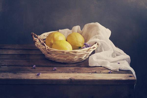 Lemon Photograph - Lemons In Wicker Bowl With White Gauze by Copyright Anna Nemoy(xaomena)
