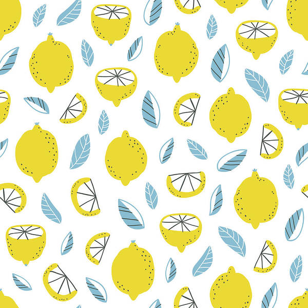 Doodle Digital Art - Lemons Pattern by Stolenpencil